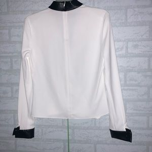 INTERMIX Tops - INTERMIX White Leather Collar Wrap Blouse sz P B0